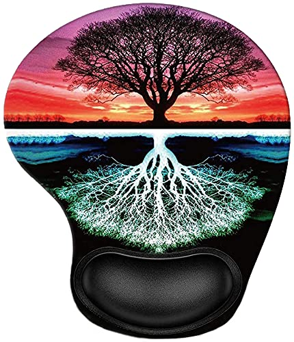 Tree Ergonomic Mouse Pad with Wrist Rest Support, Pain Relief Non-Slip Rubber Base Mousepad for Laptop Computer,Cute Mouse Pads for Wireless Mouse, As Home Office Desk Accessories Decor Supplies
