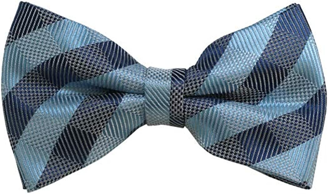 Sky Blue, Grey And Blue-Grey Checkered Woven Pre-Tied Bow Tie