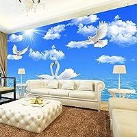 青い空と白い雲の写真の壁紙3Dステレオホワイトスワン川壁画リビングルームベッドルームテーマホテルの壁紙-300x210cm
