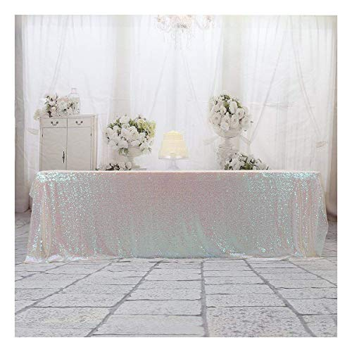 Poise3EHome 60x120 Rectangle Sequin Tablecloth for Wedding Party Cake Table, Iridescent