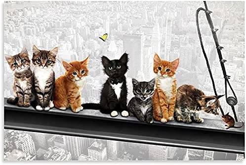 Funny City Poster with Philadelphia Mall Cute cat Steel and Skyscraper Mouse Be on Boston Mall