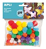 Apli kids 013061 Sachet de 78 Pompons Couleurs Assorties