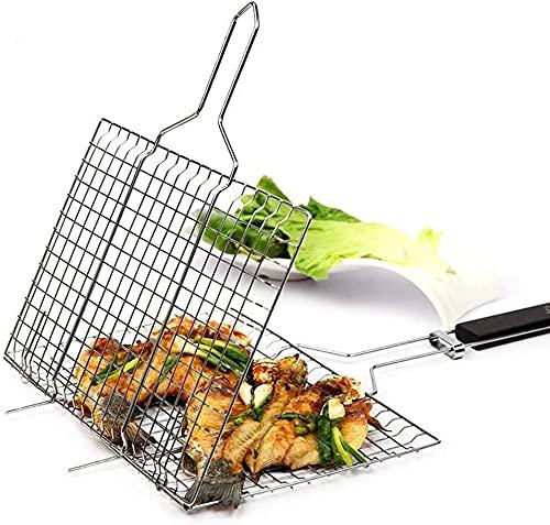 Tragbarer Grillkorb Grill-Grillgeräte, Grillzubehör Für Das Kochen Im Freien. Hergestellt Aus Strapazierfähigem Edelstahl 430