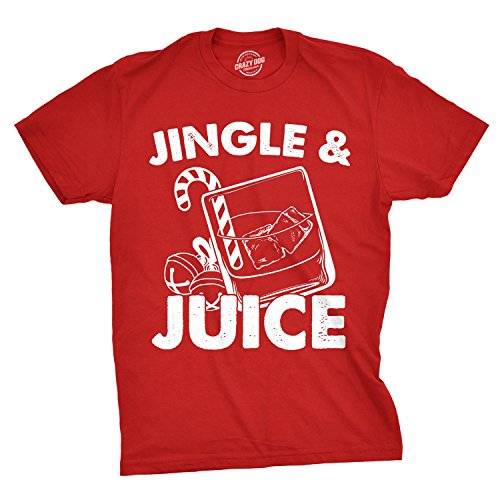 Mens Jingle and Juice T Shirt Funny Santa Sarcastic Christmas Party Tee for Guys (Red) - M