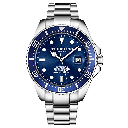 Stuhrling Original Mens Stainless Steel Automatic Self Wind Dive Watch 200M Water Resistant Unidirectional Ratcheting Bezel Screw Down Crown Sport Watch 792 Series (Silver Blue)