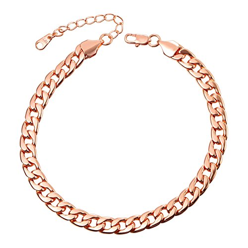 U7 Barefoot Jewelry Rose Gold Cuban Chain Anklet Women/Men Foot Bracelet, 22-27 cm Long