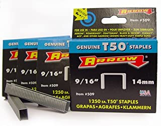 Arrow 50924-5000 T50 9/16-Inch Staples, 5000-Pack