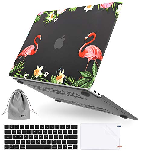 MacBook Pro 13 inch Case 2020-2016 Release A2338 M1 A2289 A2251 A2159 A1989 A1706 A1708, JGOO Plastic Pattern Hard Shell Case with Keyboard Cover & Screen Protector & Storage Bag, Flamingo