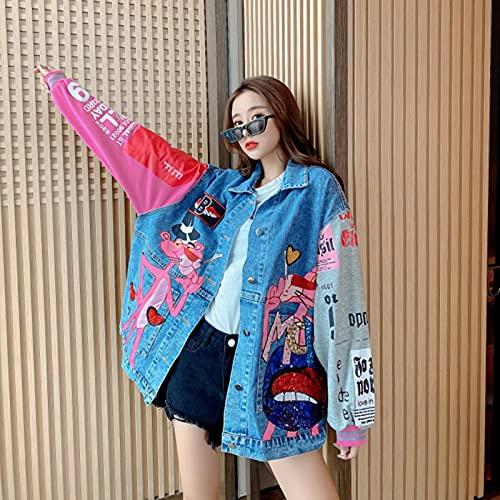 Harajuku Oversizy Denim Chaquetas Mujeres 2021 Primavera Otoño Patchwork Color Streetwear Dibujos Animados Imprimir Jean Coat Female Top