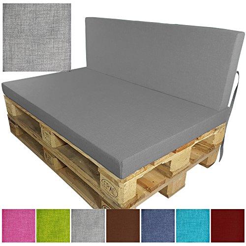 DILUMA Coussins pour Palette Europe Outdoor de proheim - À choissir Coussin d'assise ou de Dossier (Pas Un Set!) pour Sofa en Palette, Couleur:Gris, Variable:1 Coussin de Dossier 120 x 40 cm