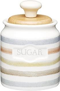 Kitchencraft Classic Collection Striped Ceramic Sugar Pot, 450 Ml 16 Fl Oz -