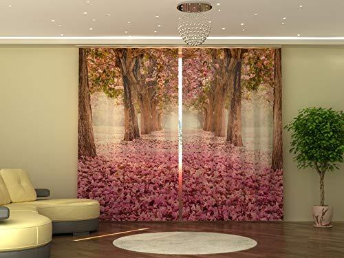 Wellmira - Tenda fotografica 245 x 290 cm, magnolia, stampa fotografica, opaca, stampa con foto, tenda con motivo