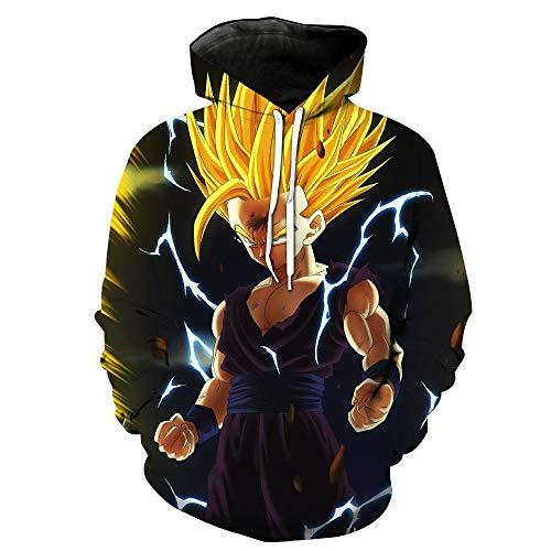 Rbop Hombre Unisex Anime 3D Impreso Cosplay Sudadera Pullover con Capucha Dragon Ball Z Super Saiyan XXXL