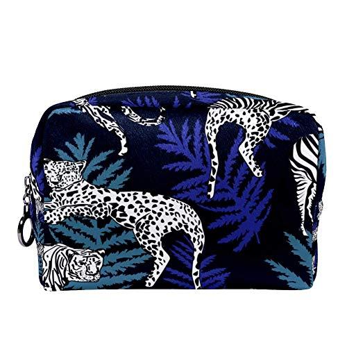 Bennigiry - Grand sac à maquillage avec motif léopard et zèbre - Grand sac à maquillage portable - Pour femmes et filles