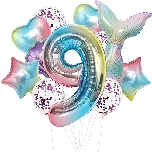 Cymeosh Juego de globos con forma de sirena, 9 años, decoración de cumpleaños para niñas, globos gigantes con el número 9, decoración para cumpleaños infantil, 9 niñas, color lila