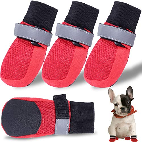 CALHNNA Dog Shoes for Small Dogs-Dog Booties- Paw Protector with Breathable Mesh Nonslip Rubber Soles(Upgrade) to Prevent Scratching Licking for Small, Medium Dogs