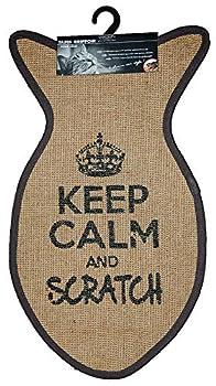 Wouapy - Tapis Griffoir pour Chat - Tapis Poisson en Sisal - Tapis a Gratter - Design & Tendance - Inscription « Keep Calm and Scratch » - Pratique & Antidérapant - Gris Anthracite