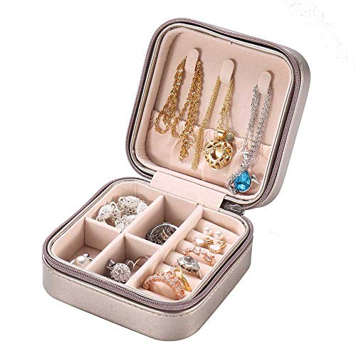 Small Jewelry Box for Travel, Mini Organizer Jewellery Storage Portable Display Faux Leather Case for Rings Earrings Necklace Bracelets, Best Gifts for Women Girls, Silver