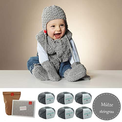 MyOma Baby Stricken Set - Wollset Baby Wollmaus - Baby Stricken Anleitung – Schal, Schühchen, Mütze – Baby Strickset – Baby Strick-Set – 6X Merino Mix Big grau (Fb 3021) + GRATIS Label – INKL. Nadeln