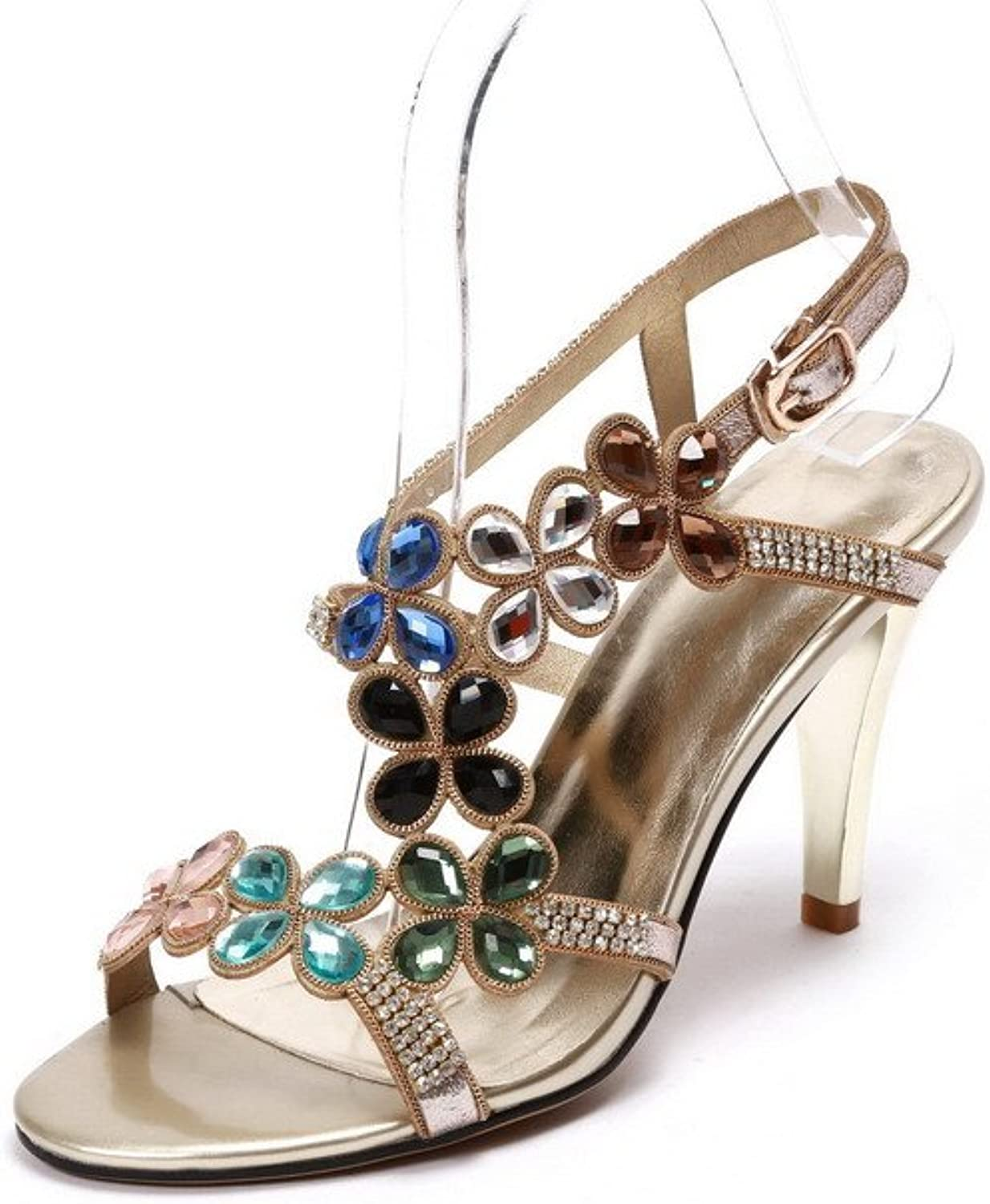 WeenFashion Women's Pu High-Heels Open-Toe Sandals with Studded Rhinestones and Glass Diamond