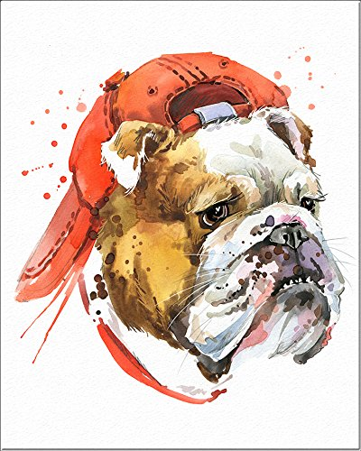 7Dots Art. Dogs. Watercolor Art Print, Poster 8x10 on Fine Art Thick Watercolor Paper for Childrens Kids Room, Bedroom, Bathroom. Wall Art Decor with Animals for Boys, Girls. (Bulldog)