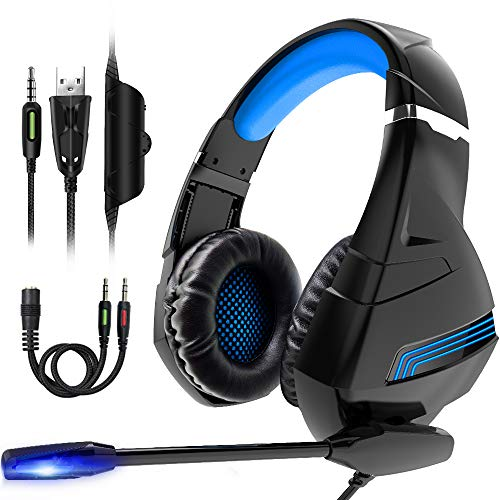 XBUTY A2 Stereo Gaming Headset for PS4, PC, Xbox One Controller, Noise Cancelling Over Ear Headphones with Mic, LED Light, Bass Surround, Soft Memory Earmuffs for Laptop Mac Nintendo Switch Games