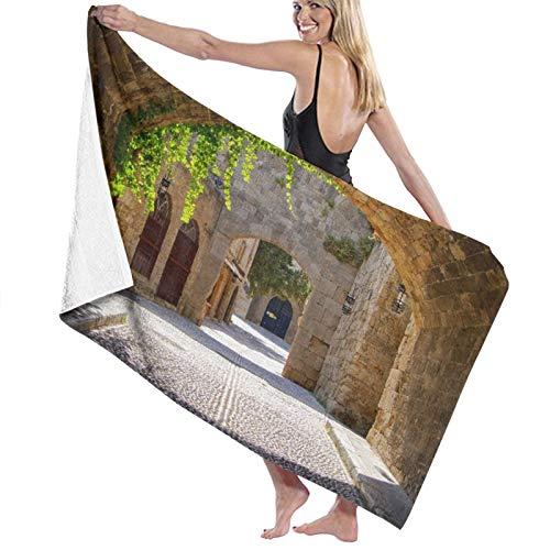 SUDISSKM Toalla de Playa de Playa de Microfibra Grande,Calle de Arcos Medievales en el Casco Antiguo de Rodas, Grecia,Toalla de Baño Suave de Secado Rápido 130x80CM