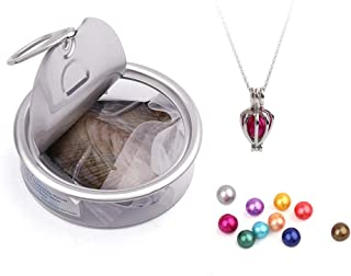 JNMM Birdcage Cultured Pearl Oyster Necklace Set Silver Plated Stainless Steel Chain 18