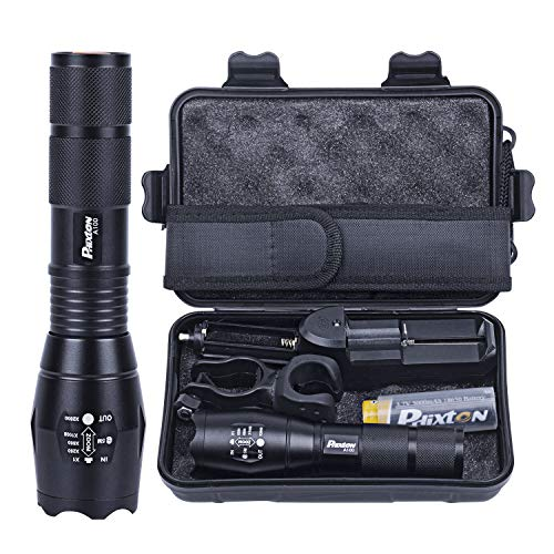LED Flashlight Powerful Rechargeable 18650 5000mAh Battery Charger Pouch Gift Box Mount Included 1200lm L2 Phixton Handheld Zoomable Aluminium Metal Water-resistant For Hiking Camping Dark Walk
