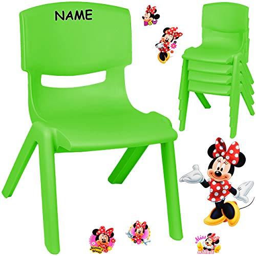 alles-meine.de GmbH Kinderstuhl / Stuhl - Motivwahl - grün + Sticker - Disney Minnie Mouse - inkl. Name - Plastik - bis 100 kg belastbar / kippsicher - für INNEN & AUßEN - 0 - 99..