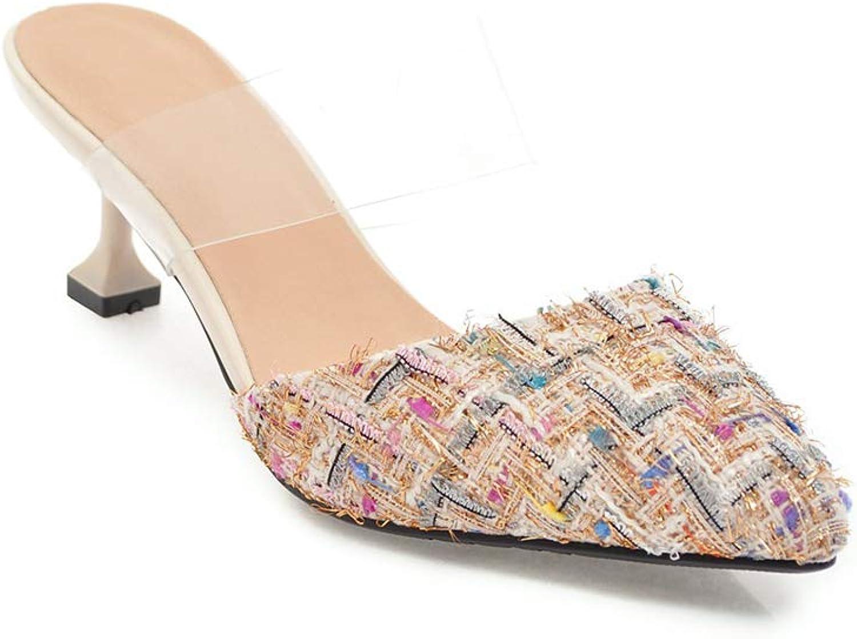 LYY.YY Frauen Spitze Geschlossene Zehe Zehe Zehe Sand Ziehen Transparent Knöchelriemen Schuhe Mit Niedrigem Absatz Auf Eine Reise Hinaus Kleid Strandschuhe (Absatzhöhe  5,5 Cm) 942631
