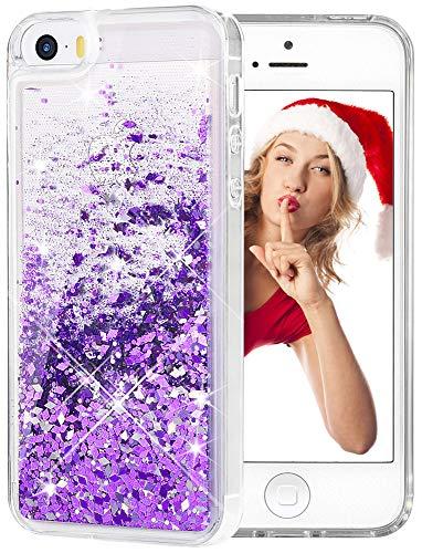 wlooo iPhone SE Cover, iPhone 5/5S/SE Custodia, Glitter Case Luxury Moda 3D Bling fluente Liquido Floating Sparkle Luccichio Cute Cover Protettivo TPU Bumper Case per Apple iPhone 5/5S/SE (Viola)
