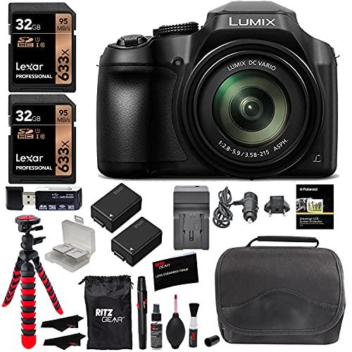 Panasonic Lumix DC-FZ80 Digital Camera, 32GB SDHC Memory Card, 2 Spare Batteries, DSLR Camera Bag, Ritz Gear Cleaning…