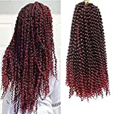 18 Inch 6 Packs Passion Twist Hair Water Wave Braiding Hair Synthetic Braids for Butterfly Locs Crochet Braids Bohemian Hair Extensions( 1B/BUG)