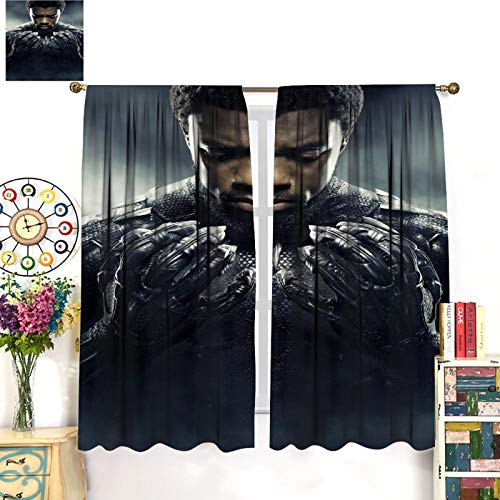 Avengers Black Panther Art White Curtains, Dark Curtains in The Insulated Room of The Living Room 55x63inch(140x160cm)