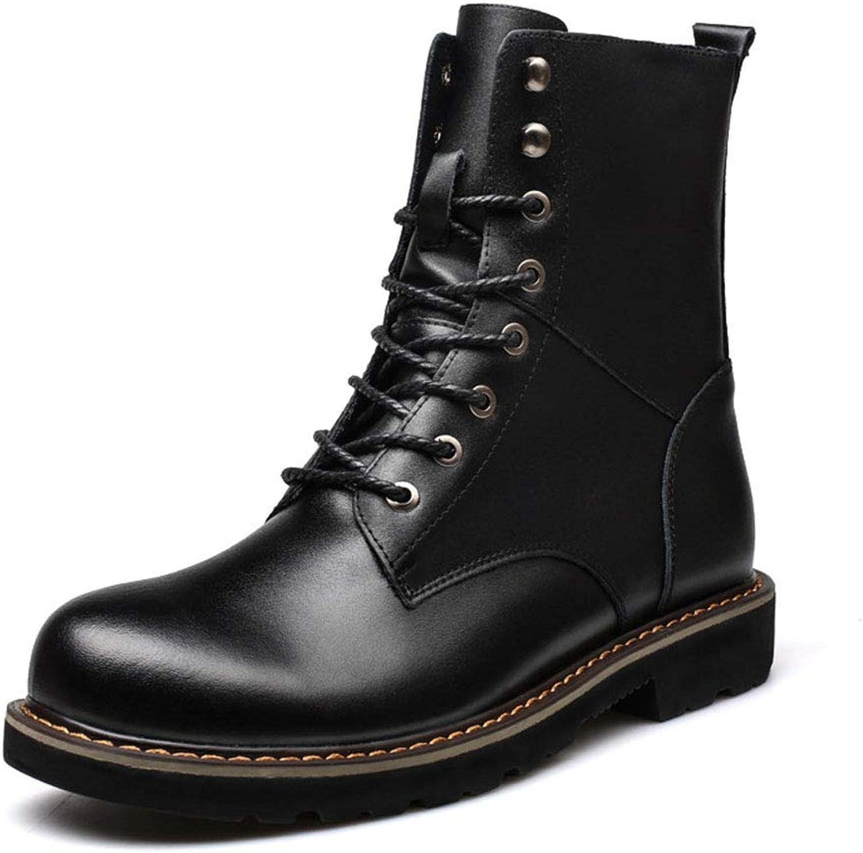 Gfphfm Men ' S Stiefel, Plus Velvet Warm Fashion Military Stiefel Fall Winter New Leather Komfort-Stiefel,schwarz,39  | Verwendet in der Haltbarkeit