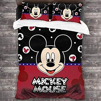 HENWS Cartoon 3-Piece Bedding Set 68x86inch Comforter Quilt Set Twin Size Soft Duvet Cover Set with 1 Quilt Cover 2 Pillow Shams for Teens Boys Girls