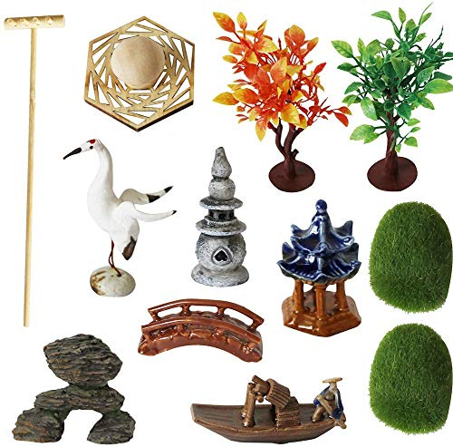 Deluxe Zen Garden Tool Kits Accessories - Tabletop Meditation Rock Sand Box Gifts Rakes Bridge Pagoda Crane Stamp Bonsai Tress Plant Relaxation Sandbox Set Office Desktop Calming Stress Relief Toy