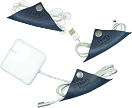 Cord Keeper (Cord Wonton) Leather Cord Organizer 3-Pack Handmade by Hide & Drink :: Slate Blue
