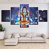 DGGDVP Cuadros enmarcados Póster de Lienzo Arte de Pared Modular 5 Piezas Retrato de Buda religioso Indio Shiva Lord Pintura Decoración del hogar Tamaño 1 con Marco