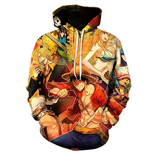 Sudadera One Piece, 3D Luffy Zoro Ace Anime Cosplay Sudadera con Capucha con Bolsillo Casual Harajuku Ropa Chaqueta Suéter Pullover Tops para Hombre Mujere Fanático de Aventura Pirata (11,XL)