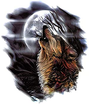 Bask in Bijoux Wolf Howling to The Moon 5  x 6  Temporary Tattoos 2 Sheets