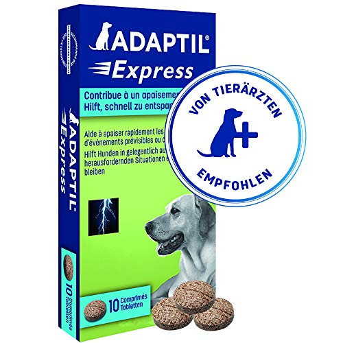 ADAPTIL Express Tablets, fast calming for anticipated events such as thunderstorms, vet visits, groomers and fireworks - Pack of 10 tablets
