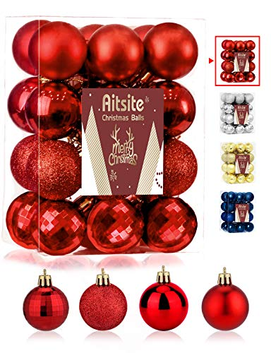 Aitsite 24ct Christmas Tree Ornaments Set 1.57 inches Mini Shatterproof Holiday Ornaments Balls for Christmas Decorations (Red)