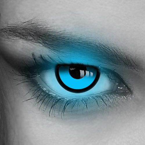 Kontaktlinsen farbig UV Neon - (GRÜN,BLAU,PINK,GELB,ORANGE) - Crazy Fun Halloween Party Fasching Karneval Disco (Blau/Blue)