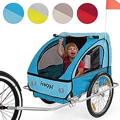 FROGGY Kids Fietstrailer met vering + 5-punts veiligheidsgordel wielbescherming hanger voor 1 tot 2 Kids Design Sky*