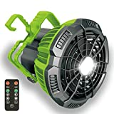 Camping Fan with Led Light, Up to 25 Hours, Battery Operated Tent Fans for Camping with Remote Control, 180° Rotation, Quiet and Powerful Portable USB Rechargeable Fan for Camping Picnic Home(Green)