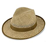 fiebig Bogart Cappello in Paglia per Donna e Uomo | Cappello Estivo con Nastro e Bordi | Cappello da Sole a Tesa Larga | Fedora Made in Italy | A Colori Natura e Tante Misure
