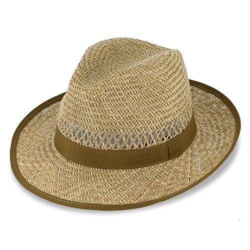 Fiebig Bogart Chapeau de Paille pour Femmes et Hommes | Chapeau d'été avec Ruban | Chapeau de Soleil à Large Bord | Fedora Made in Italy | en Couleur