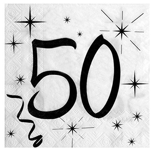 Geburtstags Servietten 50 für deinen 50. Geburtstag in weiß & schwarz - 20 Stück pro Packung - 3 lagig - 33x33cm